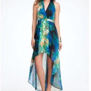 bebe Tropical Halter High/Low Dress